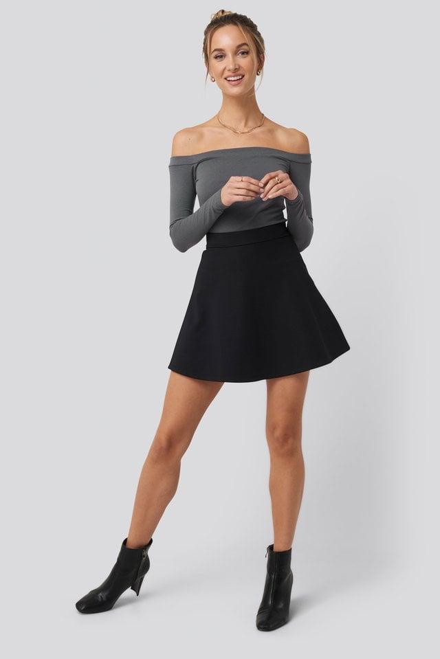 High Waist Skater Mini Skirt Outfit.