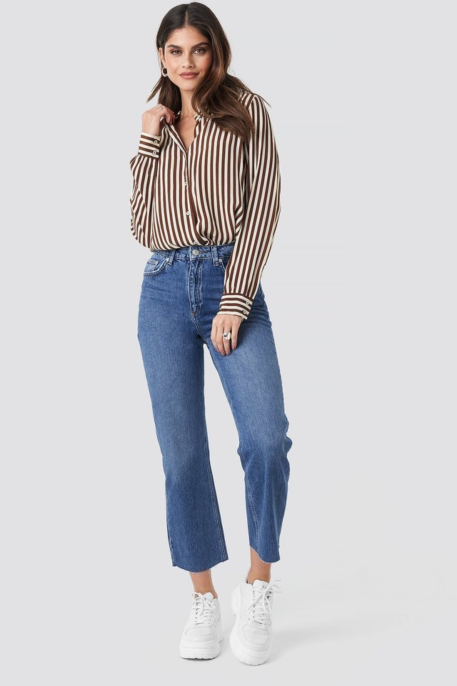 Raw Hem Straight Jeans Blue Outfit.