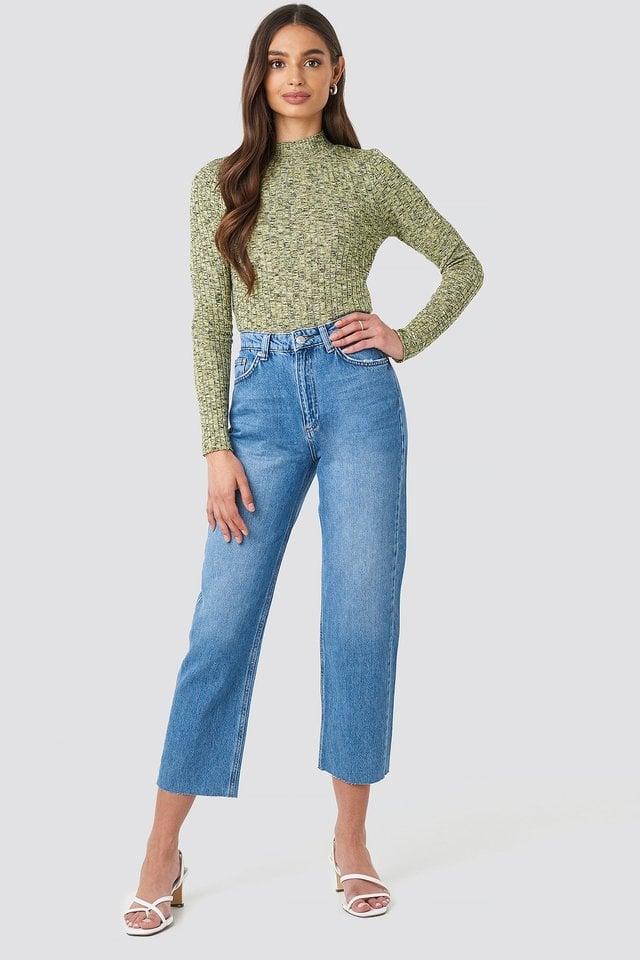Mid Blue Raw Hem Straight Jeans