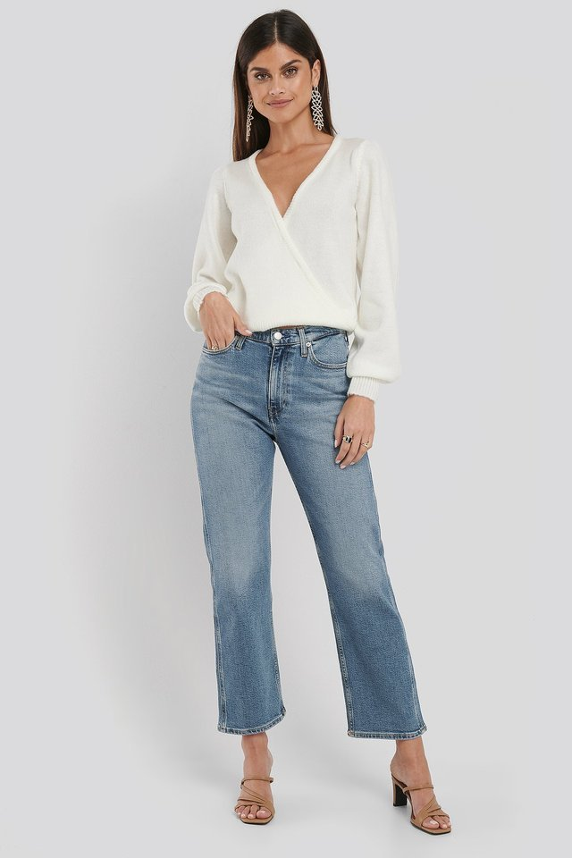 030 High Rise Straight Ankle Jeans Blue Outfit.