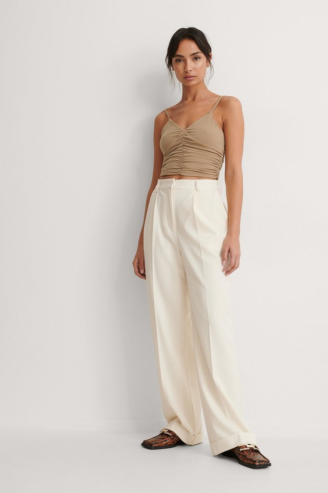 Rouched Cropped Top Outfit.