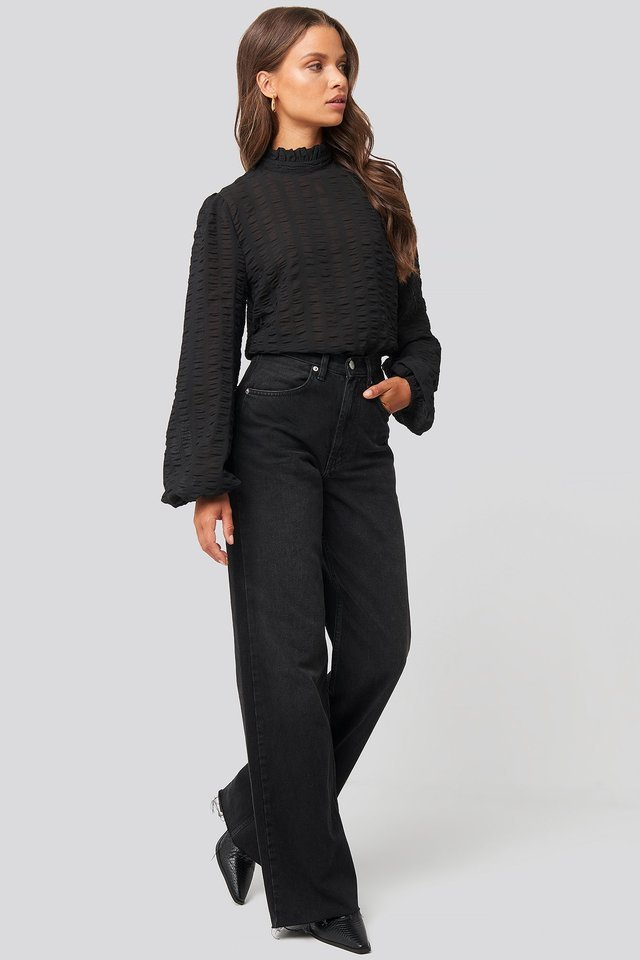 Black Frill Neck Structured Blouse