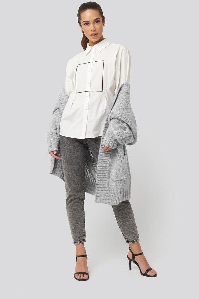White Longline Button Up Shirt