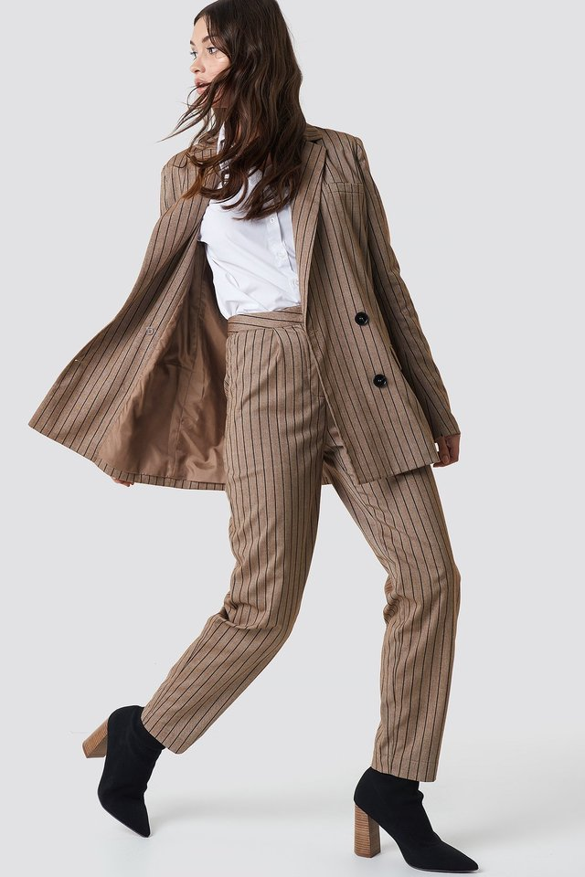 Straight Leg Striped Suit Pants Outfit.