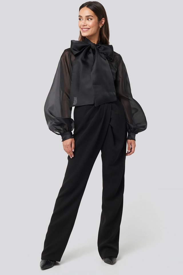 Bow Neck Organza Blouse Outfit.