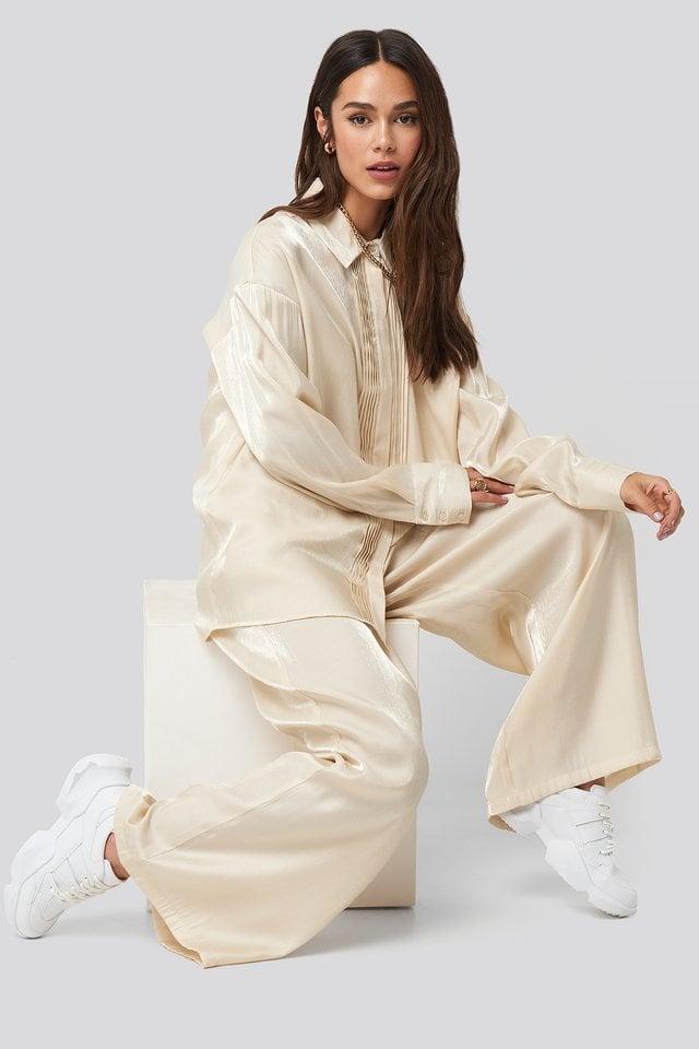 Cream Shiny Jabot Shirt