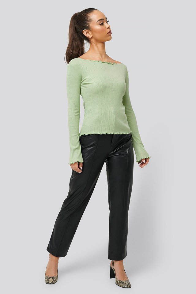 Flared Sleeve Boat Neck Rib Top Outfit.