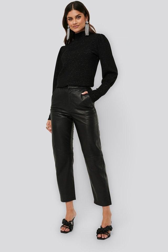 Lurex Knit Blouse Outfit.