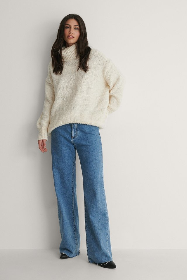 Milla Turtleneck Knit Sweater Outfit.