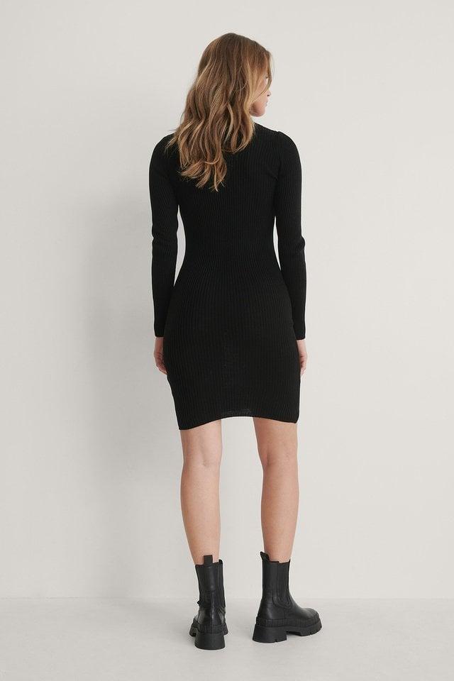 Turtleneck Knit Mini Dress Outfit.