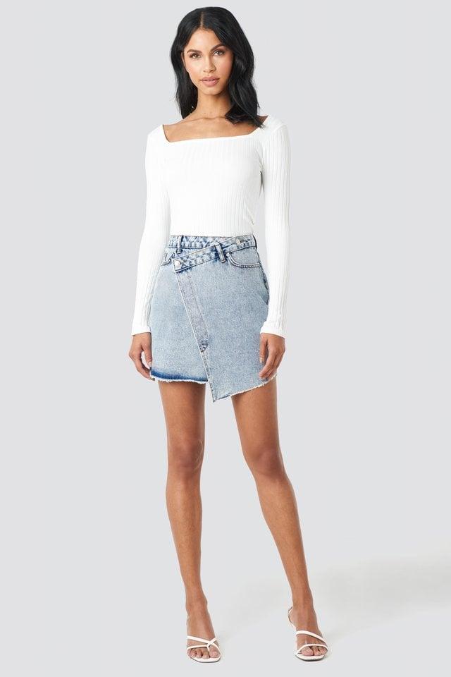 Assymetric Closure Denim Skirt Outfit.