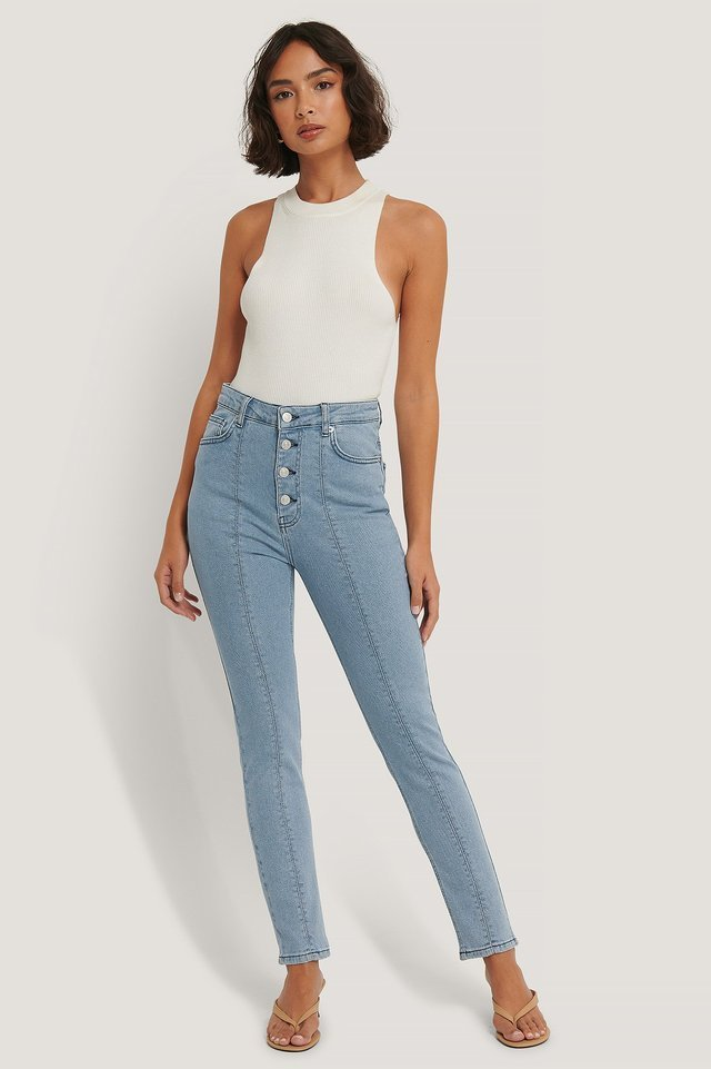 Front Seam High Waist Jeans Blue Outfit.