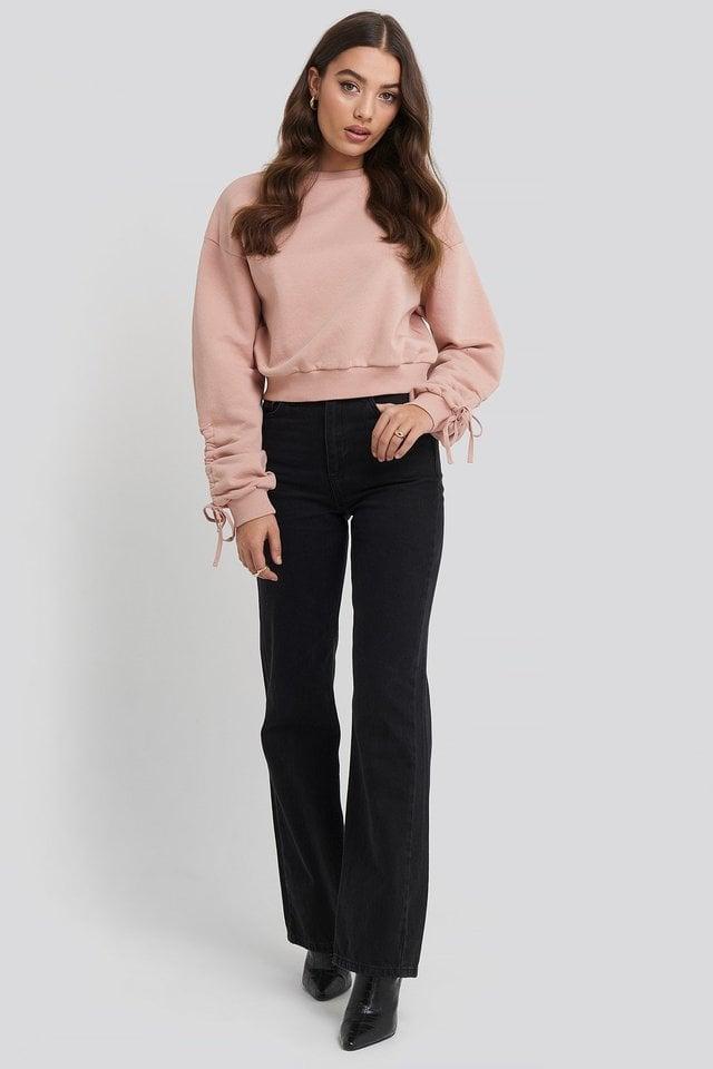 Tie Sleeve Sweatshirt Outfit.