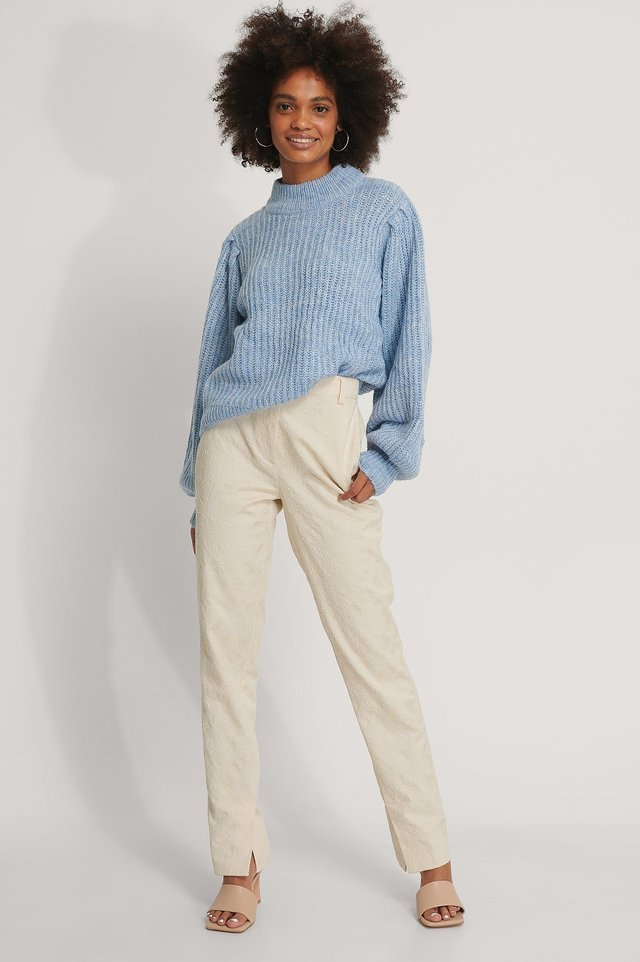 Puff Sleeve Knitted Sweater Outfit.