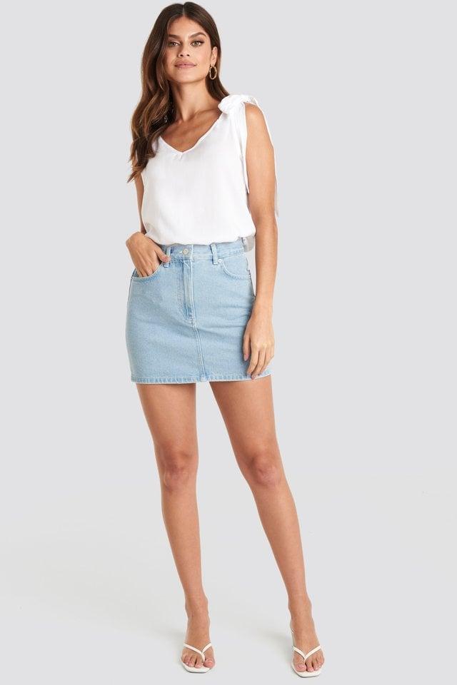 High Waist Denim Mini Skirt Outfit.