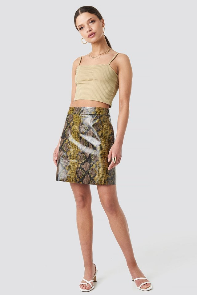 Snake Printed A Line Mini Skirt Outfit.