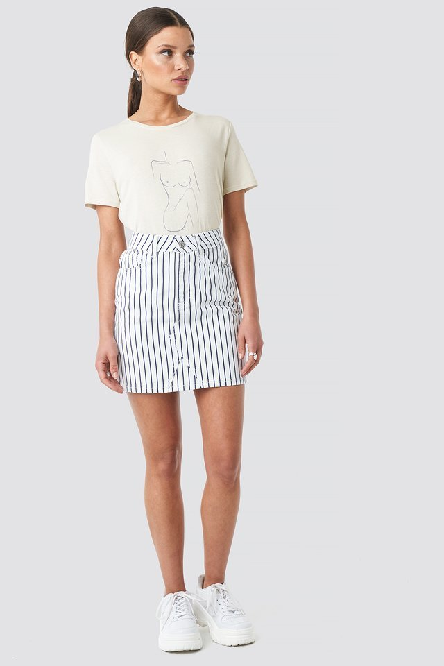 Pin Striped Denim Skirt Outfit.