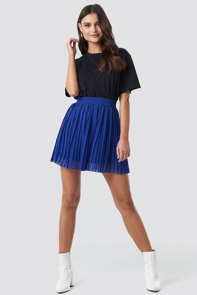 Blue Mini Pleated Skirt