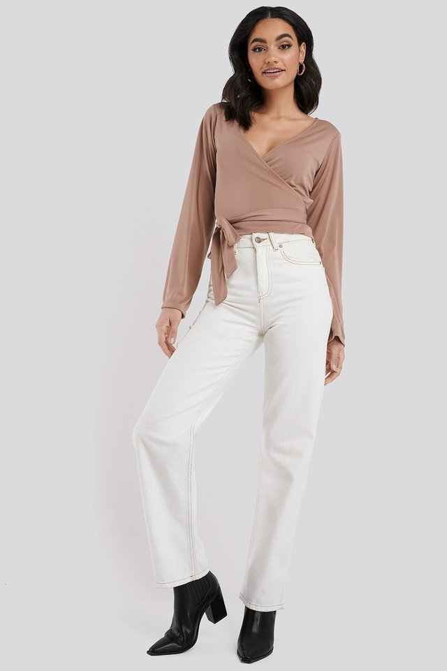 Bell Sleeve Wrap Tie Blouse Outfit.