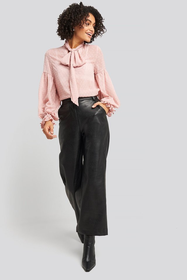 Tie Neck Dobby Blouse Outfit.