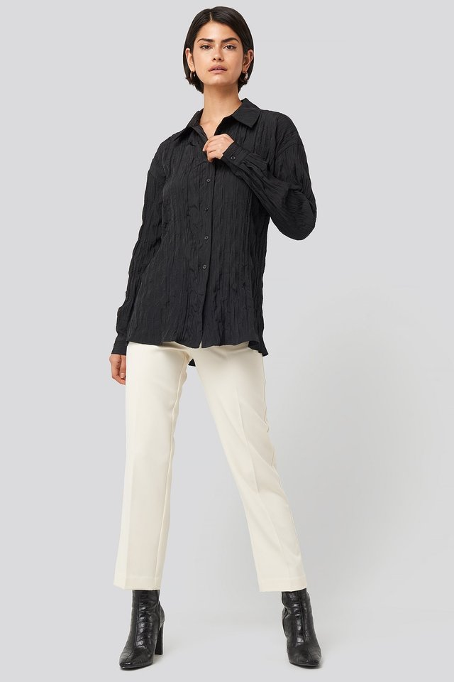 Creased Effect Blouse Outfit.