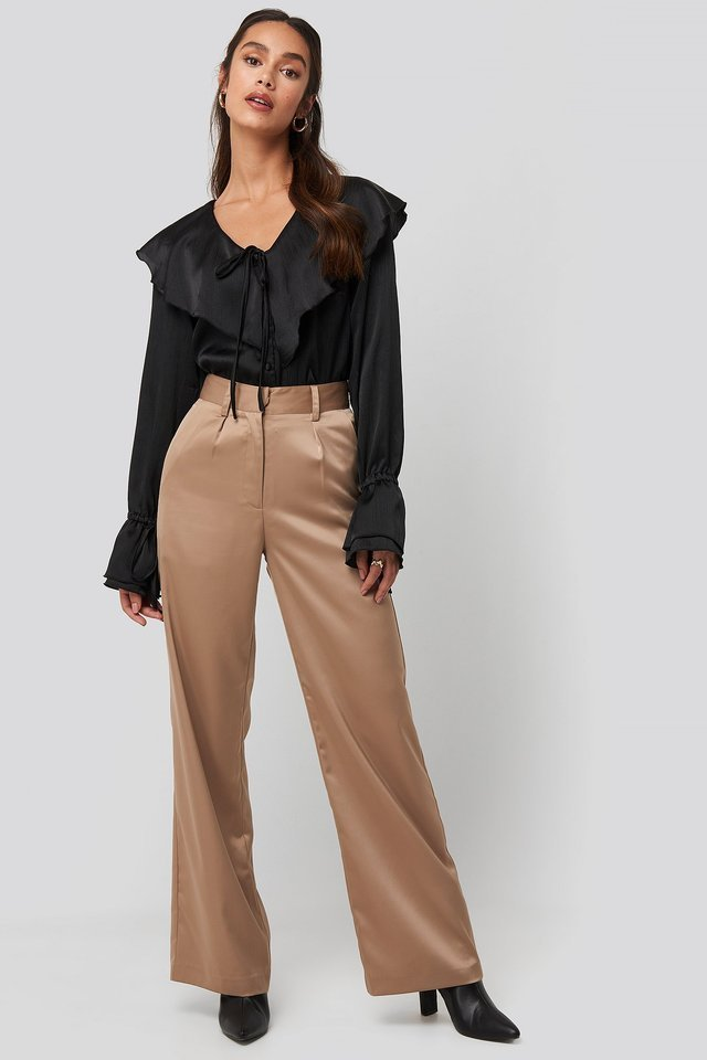 Flounce Satin Structured Blouse Outfit.