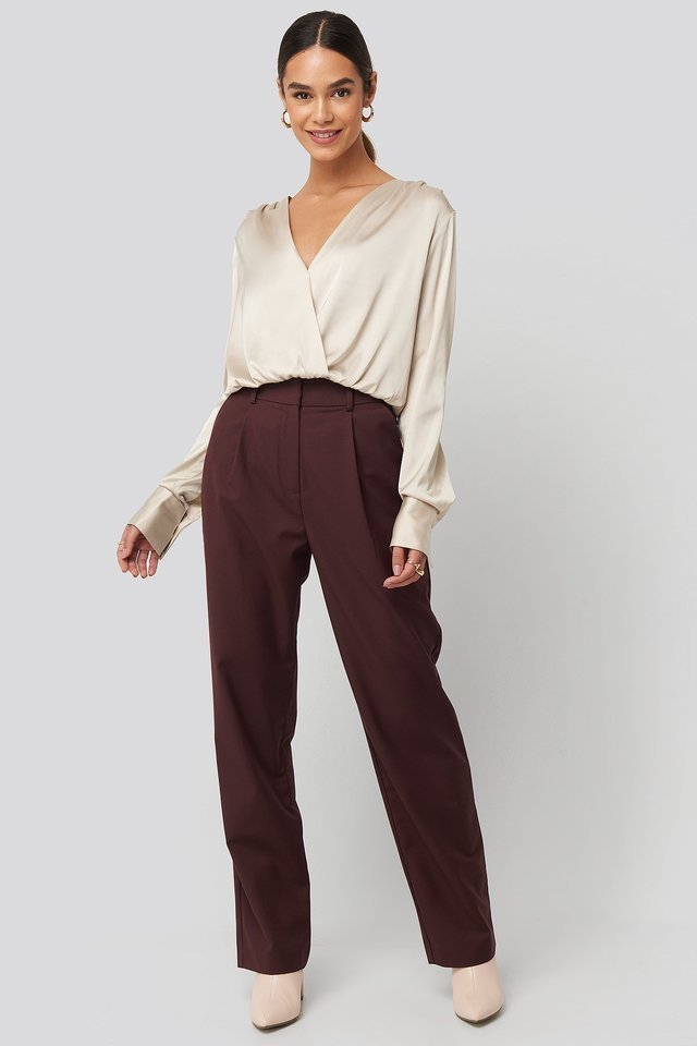 Gathered Shoulder Satin Blouse Outfit.