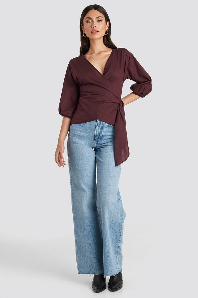 Wrap Over Balloon Sleeve Blouse Outfit.