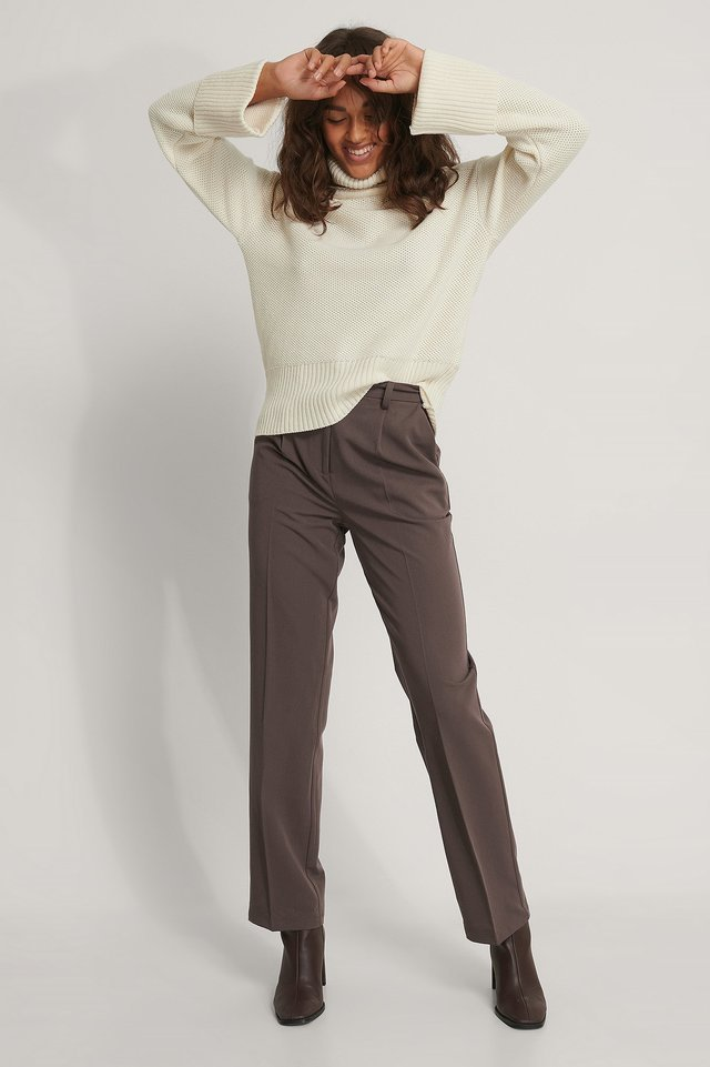 Folded High Neck Knitted Sweater Outfit.