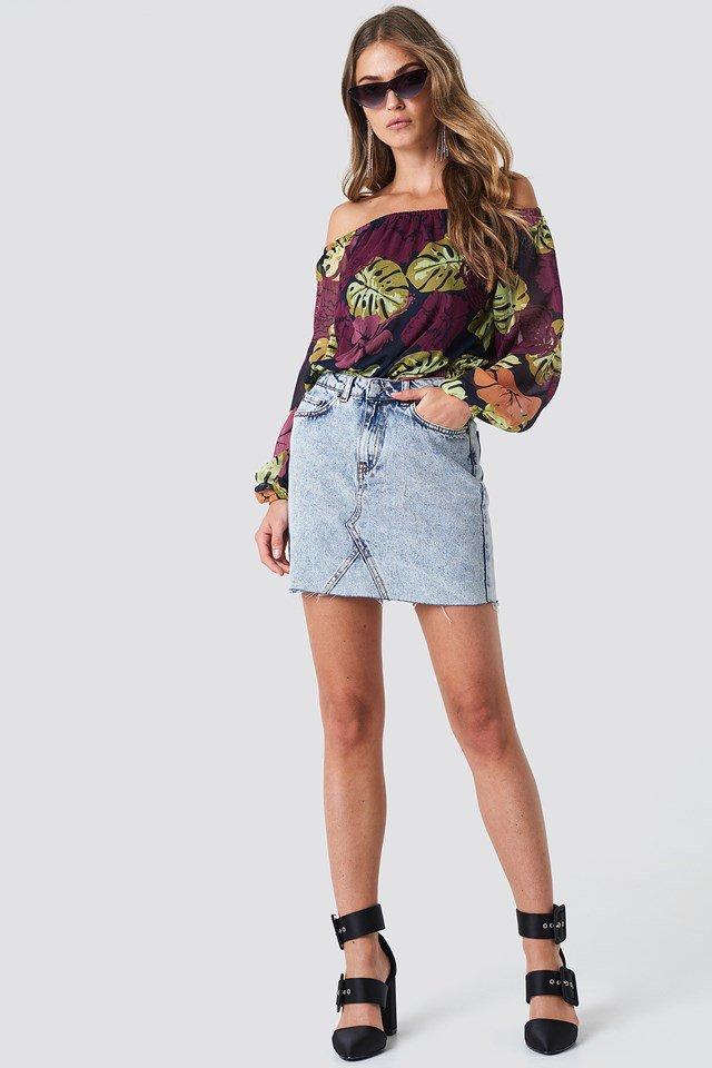 Chiffon Off Shoulder with Denim Skirt