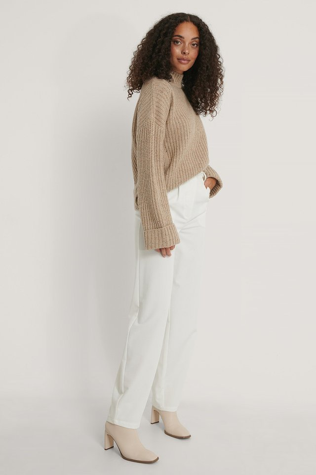 Folded Sleeve High Neck Knit Sweater Outfit.