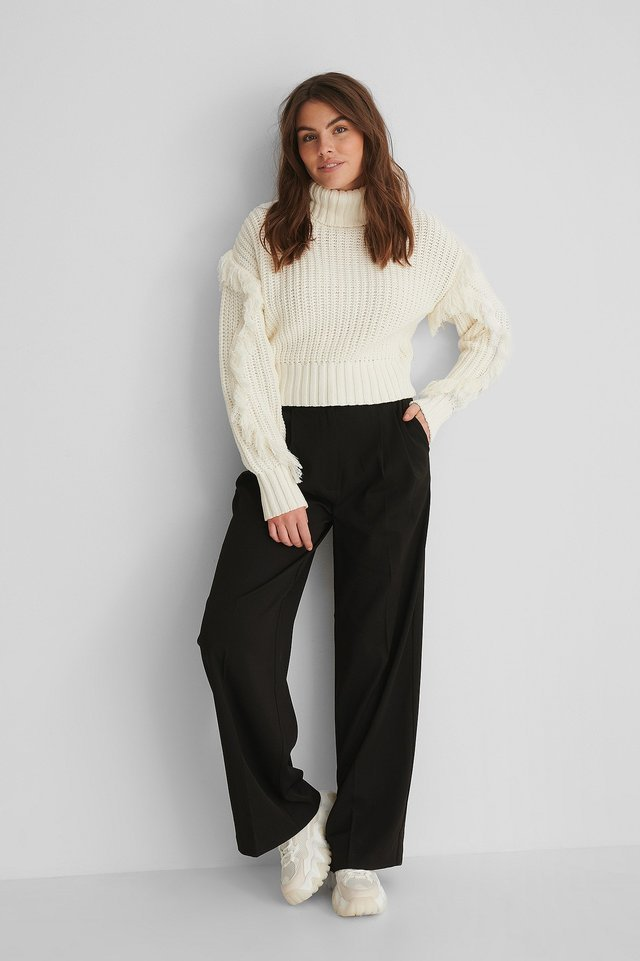 Fringed Detail High Neck Knitted Sweater Outfit.