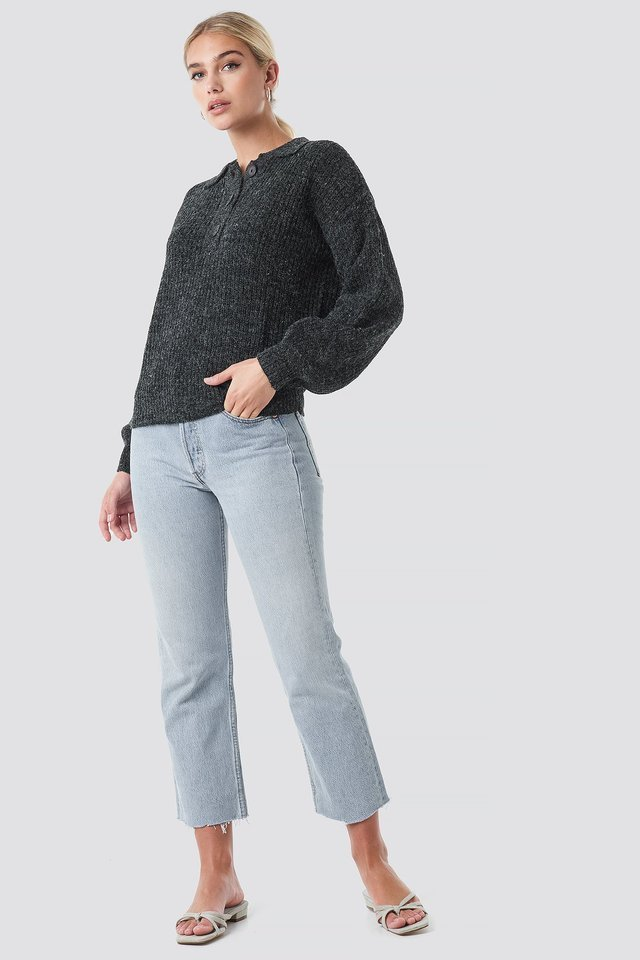 Henley Knitted Sweater Outfit.