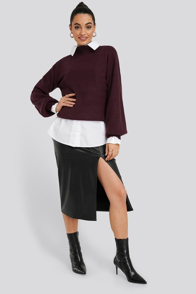 High Neck Big Sleeve Knitted Sweater Outfit.