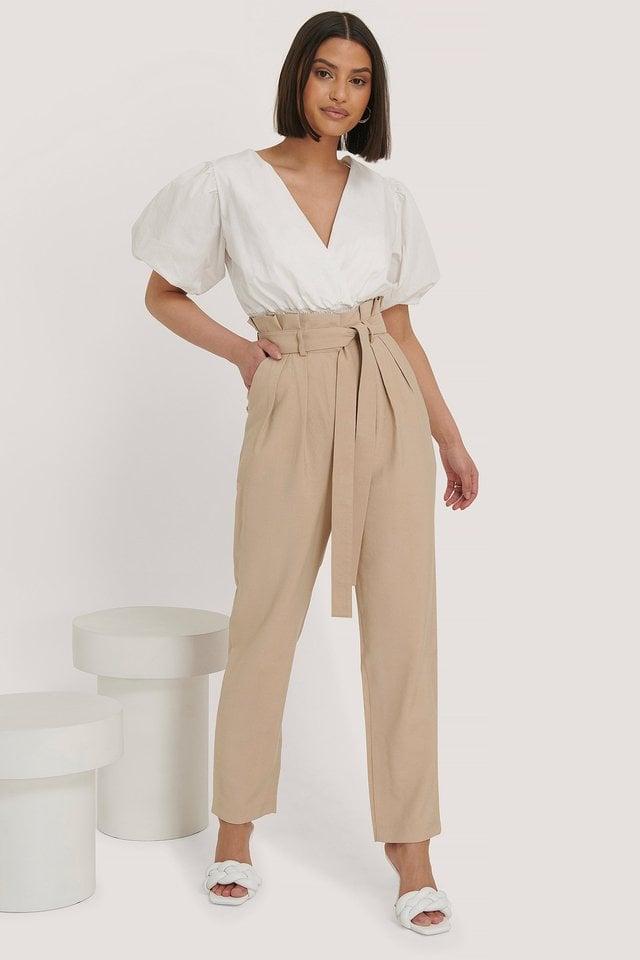 Beige Asymmetric Belted Suit Pants