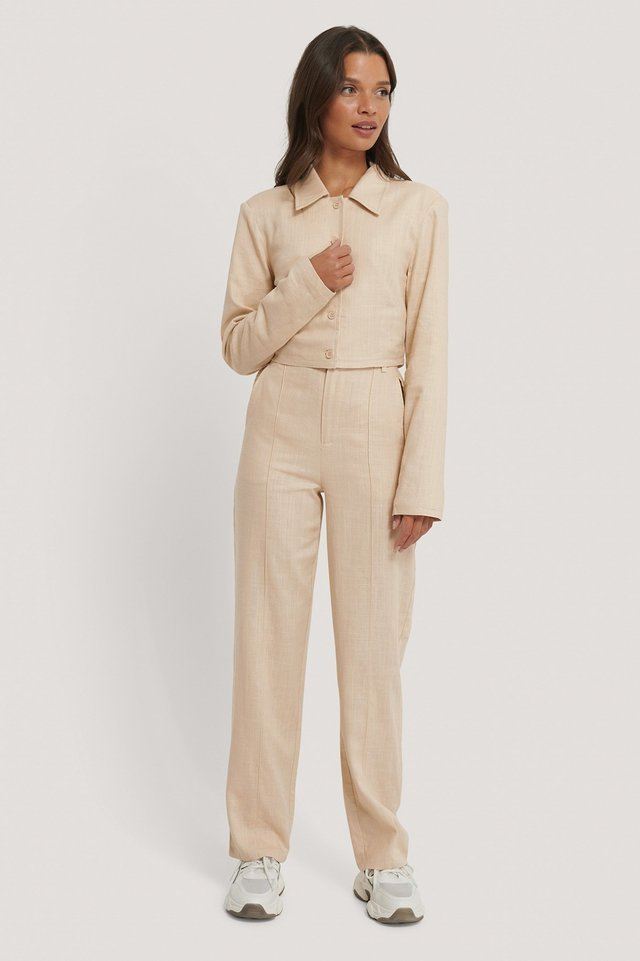 Linen Blend Creased Trousers Outfit.