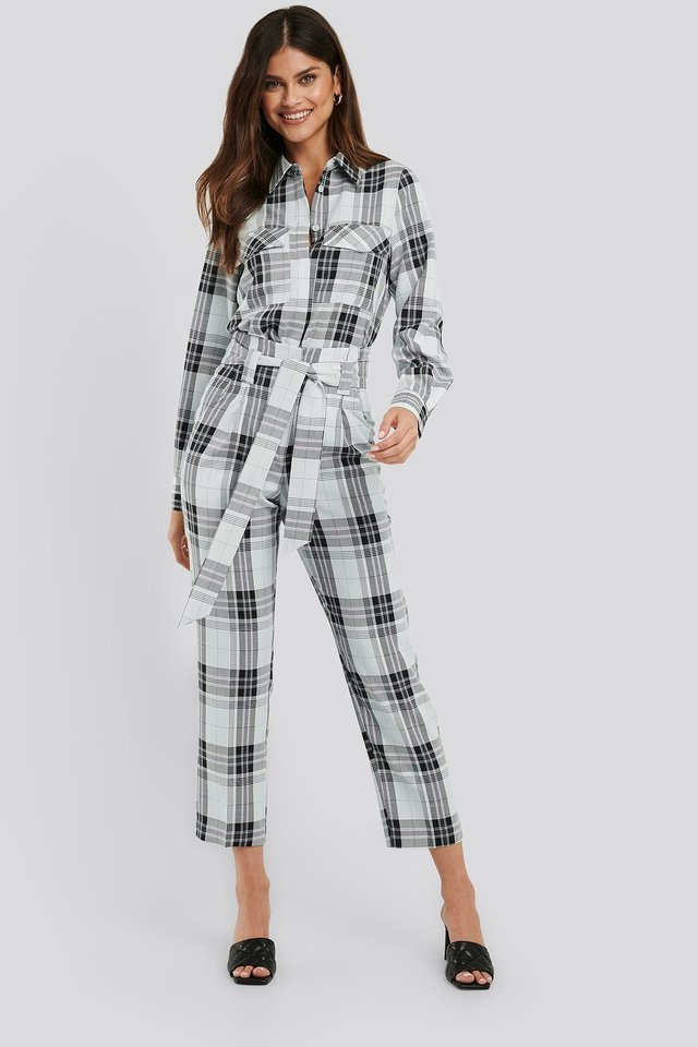 Plaid Belted Suit Pants Outfit.