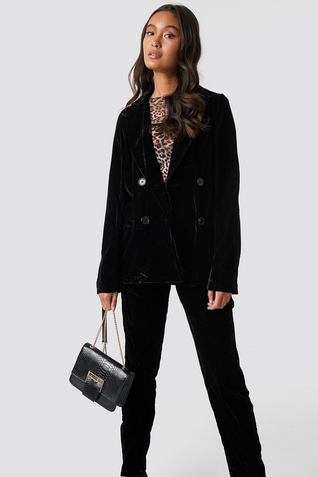 Double Breasted Velvet Blazer Outfit.