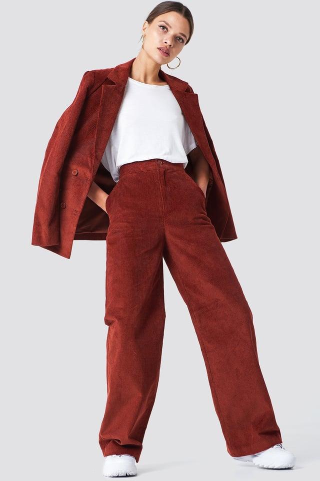 Red Elastic Waist Seamline Pants