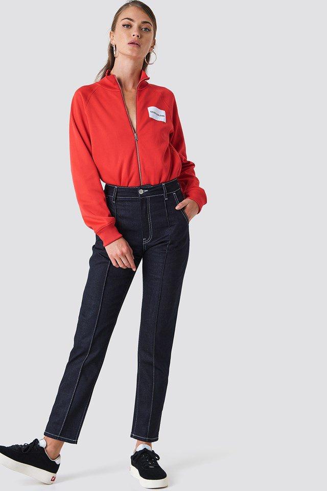 Contrast Seam Jeans