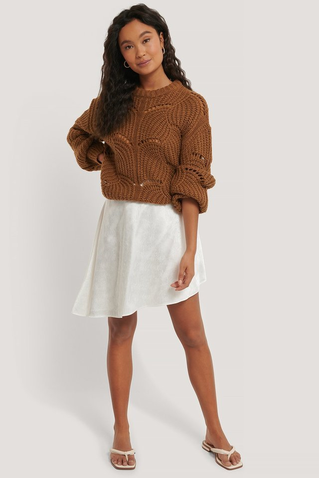 Wavy Pattern Knit Sweater Outfit.