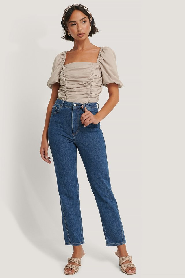 Organic Twisted Seam Detail Jeans Blue Outfit.