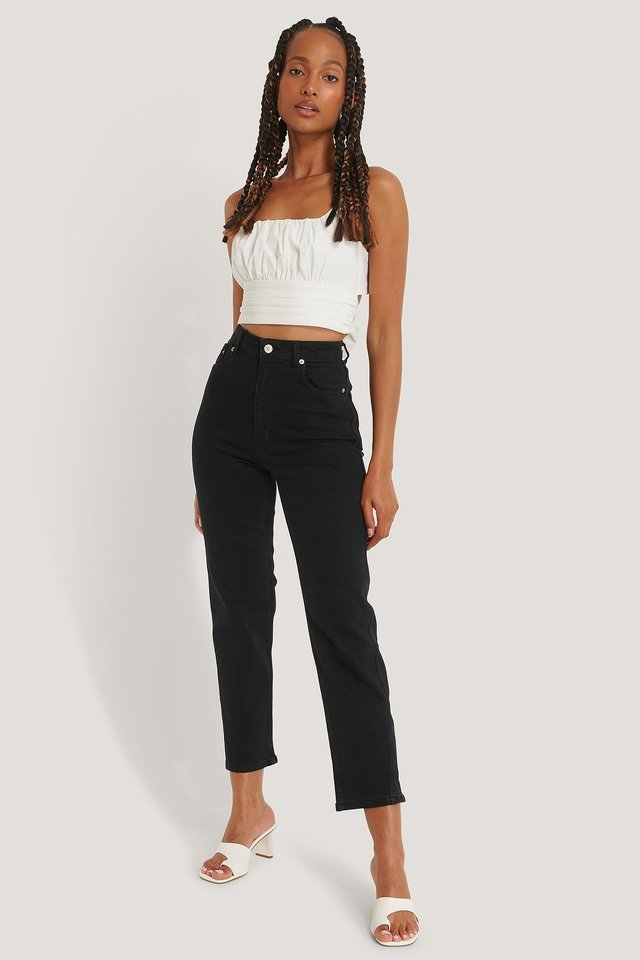 Organic Twisted Seam Detail Jeans Black Outfit.