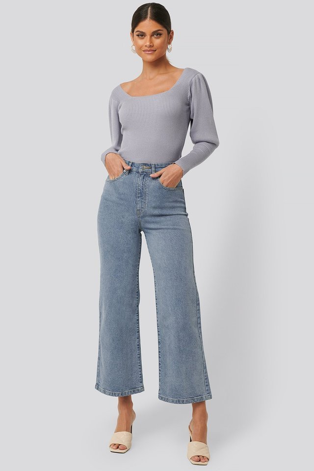 High Waist Culottes Blue Outfit.