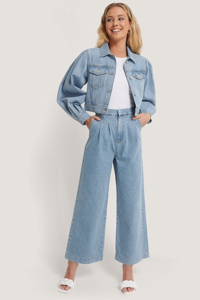 Tailored Denim Pants Blue Outfit.