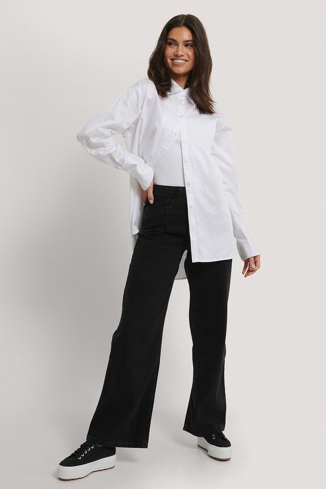 Pleated High Waist Wide Leg Jeans Black Outfit.