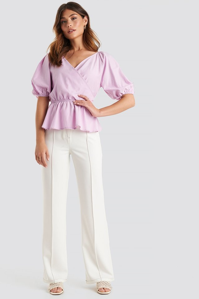 V Neck Wrap Over Elastic Waist Blouse Outfit.