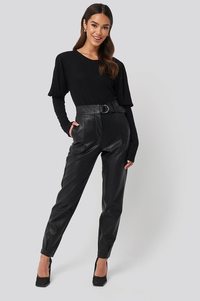 Puff Sleeve Ribbed Top Outfit.