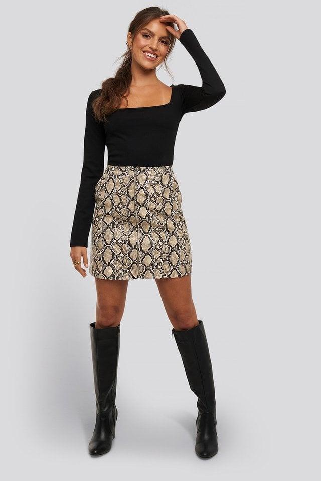 Megan Square Neck Top Outfit.