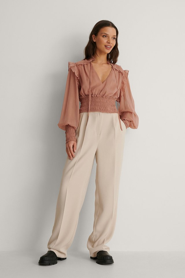 Smocked Waist Blouse Outfit.